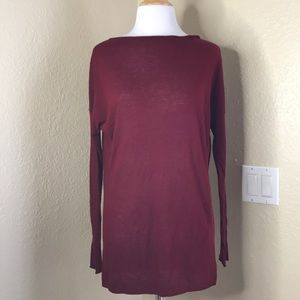 Vince | Tunic Burgundy Thinly Knitted Sweater S